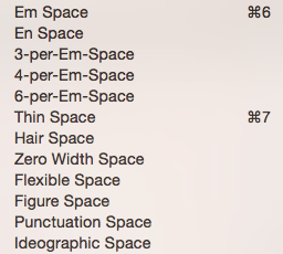 Printers have numerous types of spaces.
