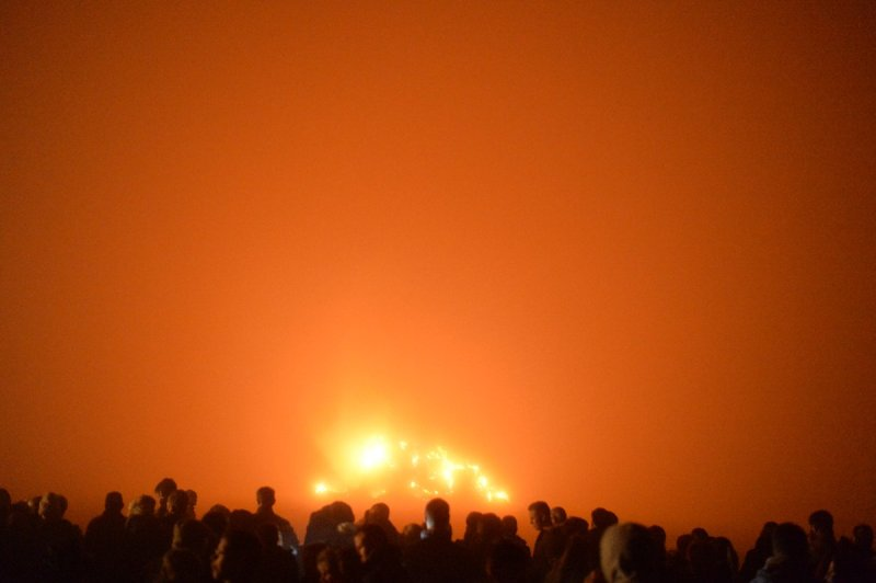 Bonfire in fog
