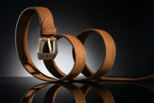 Men's buffalo leather belt with bronze Panerai style buckle
