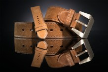 Men's Buffalo leather belt with Bronze buckle - and watch strap