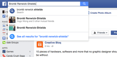 "Searching ""Brontë Renwick-Shields"" on Facebook yields two results, the second of which still has a Unite UVic profile and cover photo. Screenshot by Niusha Derakhshan"
