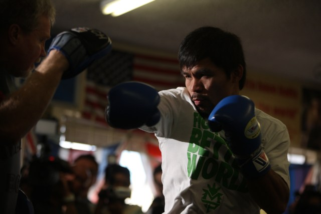 Manny Pacquiao boxing workout at the Wild Card gym Oliver Petalver via Flickr