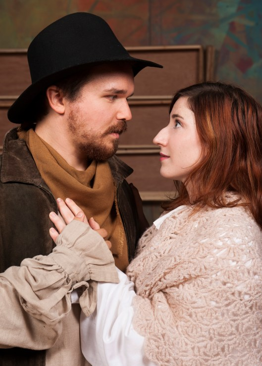 John Proctor (Alex Judd) and Abigail Williams (Sarah Newton) become embroiled in a scandal involving witchcraft in Langham Court Theatre's production of The Crucible. Photo by David Lows/Langham Court Theatre