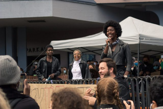 from left to right: Vanessa Simon, Asiyah Robinson, Pamphinette Buisa speaking at the Black Lives Matter peace rally.