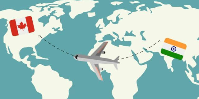 Map graphic of a plane flying from India to Canada.