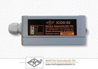 Az ICOD-02 típusú telepített CO érzékelő oldalnézete