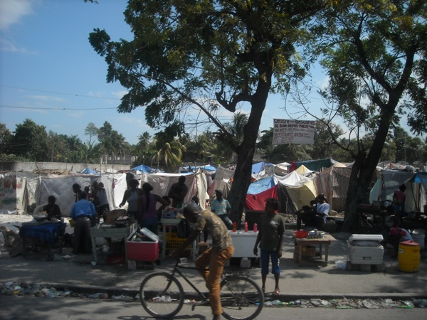 A tent city in Port-au-Prince Haiti.