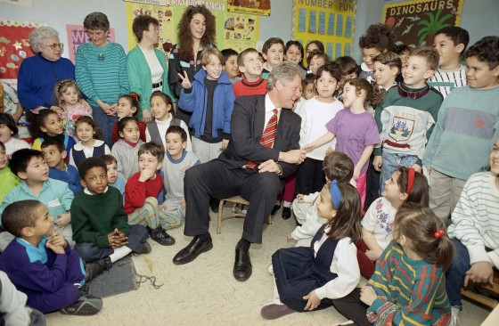 Clinton with children