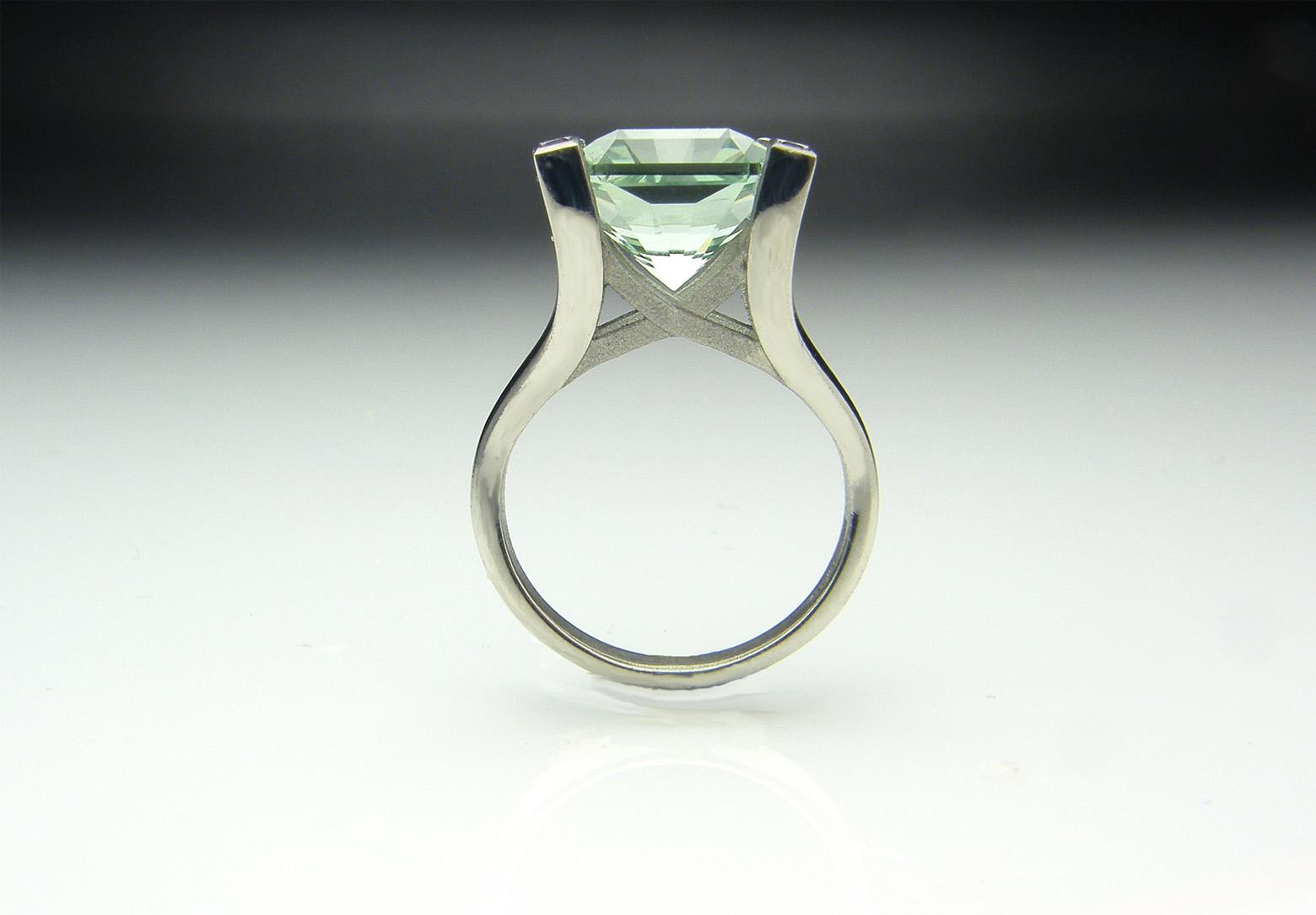 Green Amethyst & Palladium Ring