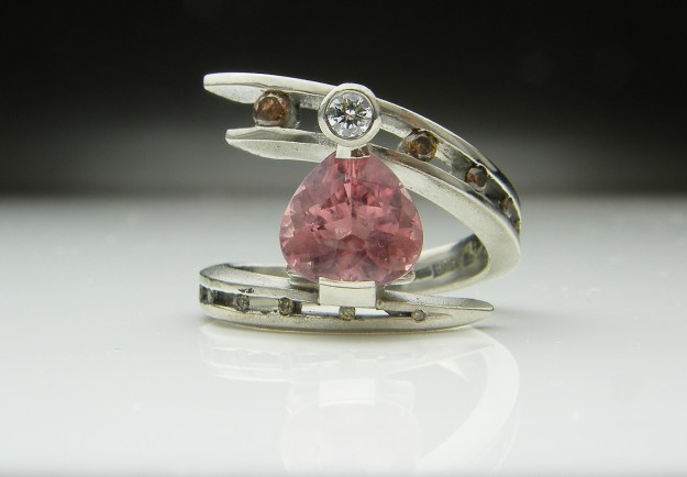 Pink Tourmaline & Chocolate Brown Diamond Juno Ring