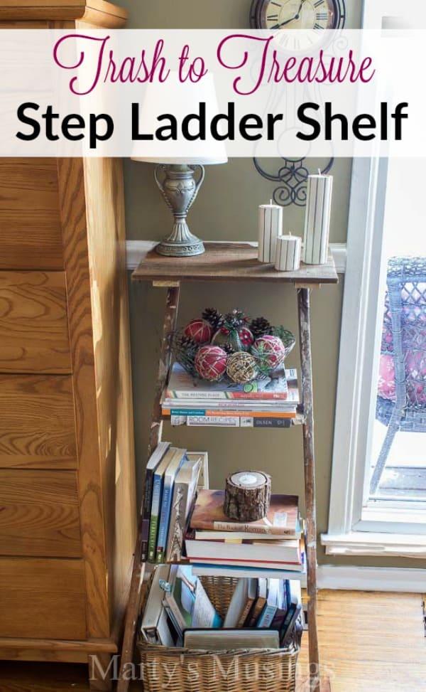 DIY Step Ladder Shelf