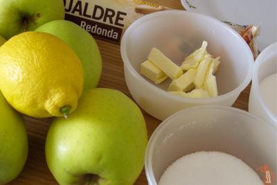 Ingredientes para el tatín de manzana