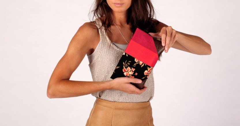 Red Maroon Genuine Leather and silk clutch Marusya Brika Floral Anagrassia