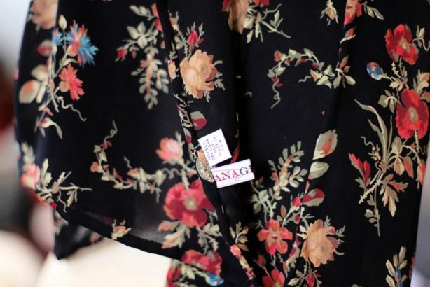 silk floral scarf handstitched edges Marusya