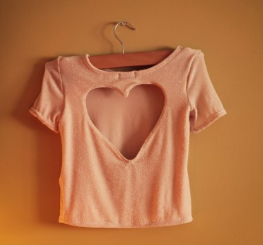 hot pink heart cut out girls t-shirt valentines day marusya