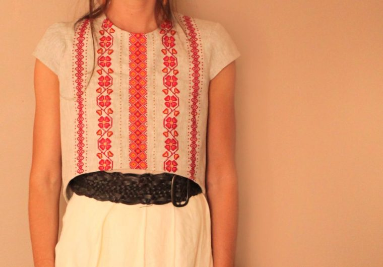 Ukrainian Embroidered Linen dress crop top