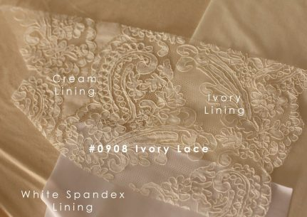 0908 ivory lace with ivory lining cream lining and white spandex