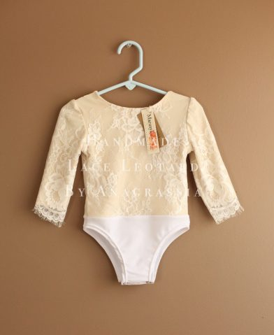 White spandex lining ivory skirt leotard cream chantilly lace