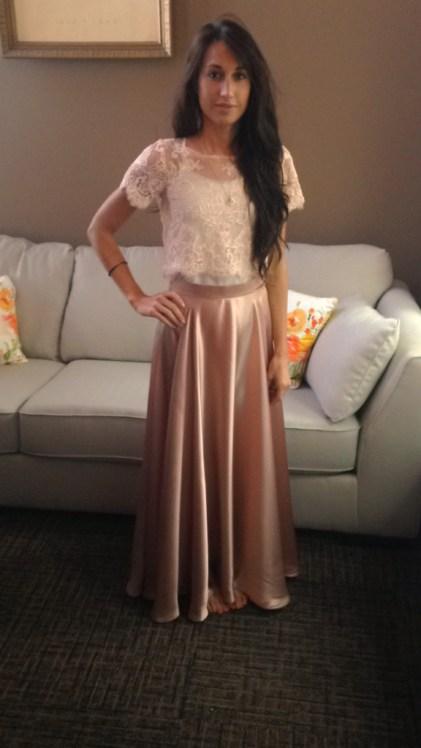 Silk Maxi Skirt Bridesmaid Rose Lace Crop Marusya Marusya