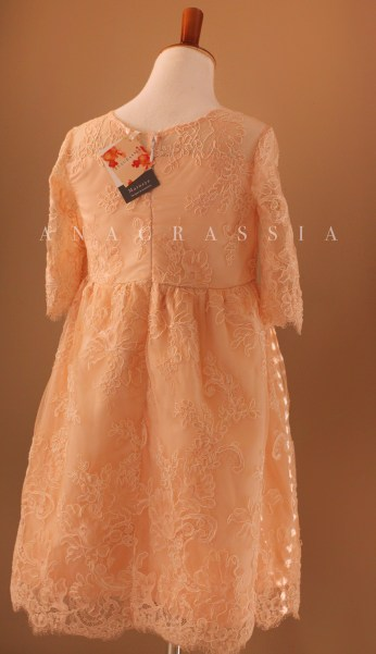 Isabel Blush Pink Silk Cotton Illusion Sweetheart Neckline Unlined Long Sleeve Scallop Lace Edge Easter Communion Flower Girls Couture Handmade Girl Dress Sew