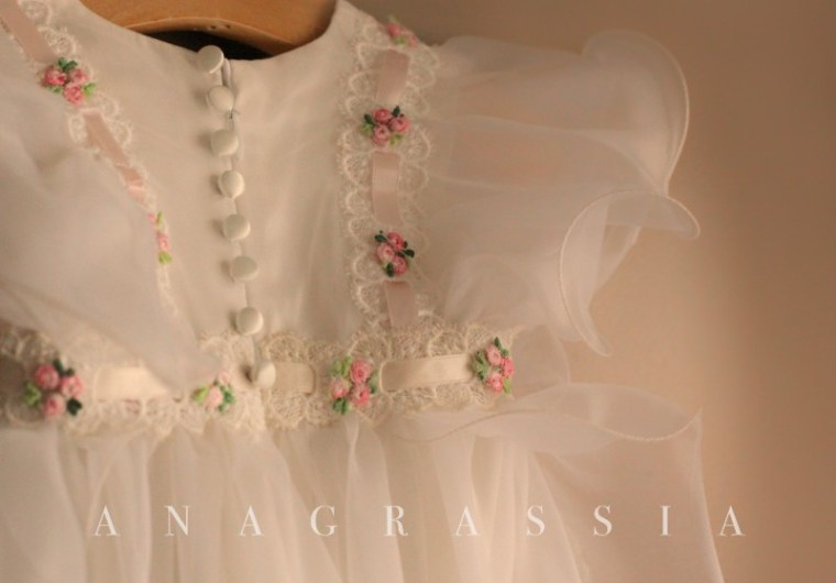 Handmade, Sewing, Ivory,Blog, Fashion, Couture, Baby, Toddler, Lace, Silk, White, Pink, Long, Baptismal, Christening, Gown, mother, grandmother, wedding, gown, Vintage, Anagrassia, custom made, Floral, flowers, ruffles, pinafore