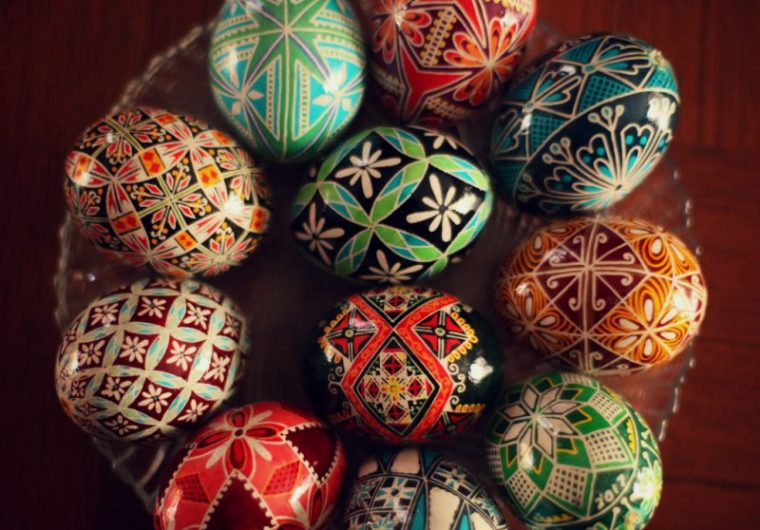 ukrainian wax painted easter eggs display pysanky