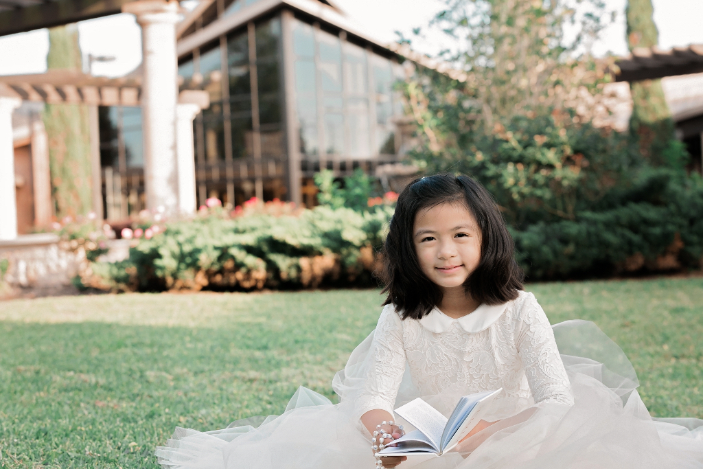 White Embroidered Communion flower girl dress skirt lace leotard hand custom satin buttons seamstress couture bespoke gold ivory wedding floral tulle bodysuit