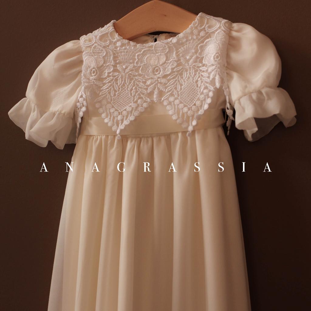 Guipure Lace Silk Christening Gown Swedish | Marusya Marusya