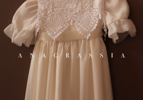 Anagrassia Baptismal Christening Gown Silk Lace Ivory White Organza Charmeuse Sash Satin Buttons Couture Sewing Handmade Dress Girls Wedding Floral Alencon grey