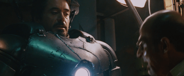 Stark in the first Iron Man armour, Mark I.