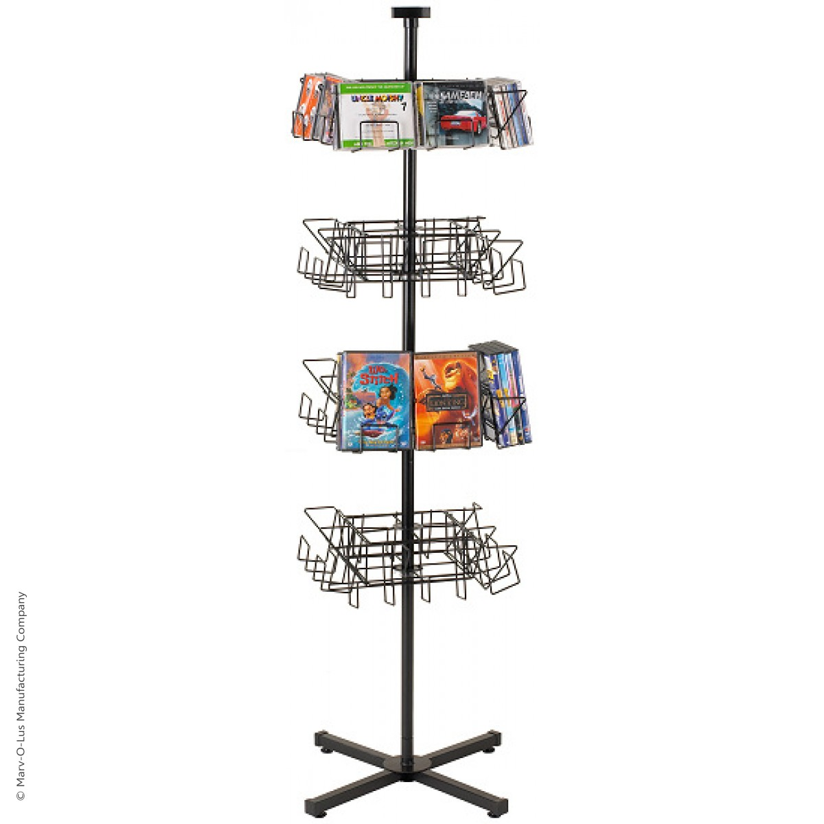 32 Pocket Economical Cd Dvd Floor Display Spinner Rack