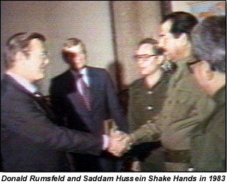 Donald Rumsfeld meets his pal Saddam Hussein