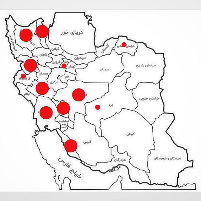 Protest map 24 July Image kargar magazine instagram