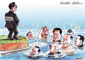 panama paper-pond of corruption cartoon