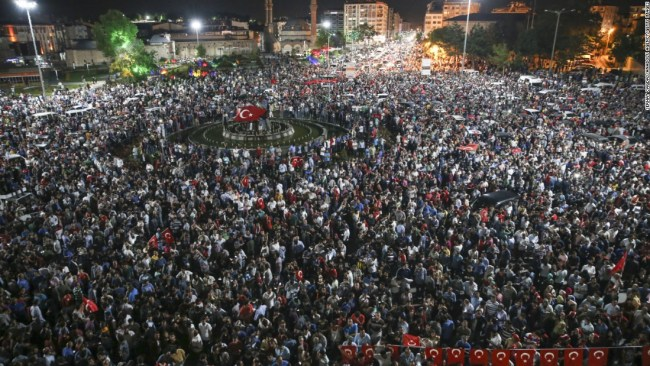 Citizens in Ankara rush to the streets during the chaotic coup attempt.