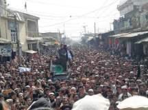 کراچی یونیورسٹی کے طالبعلم احمد شاہ کے قتل کیخلاف باجوڑ میں سینکڑوں لوگوں کا احتجاج