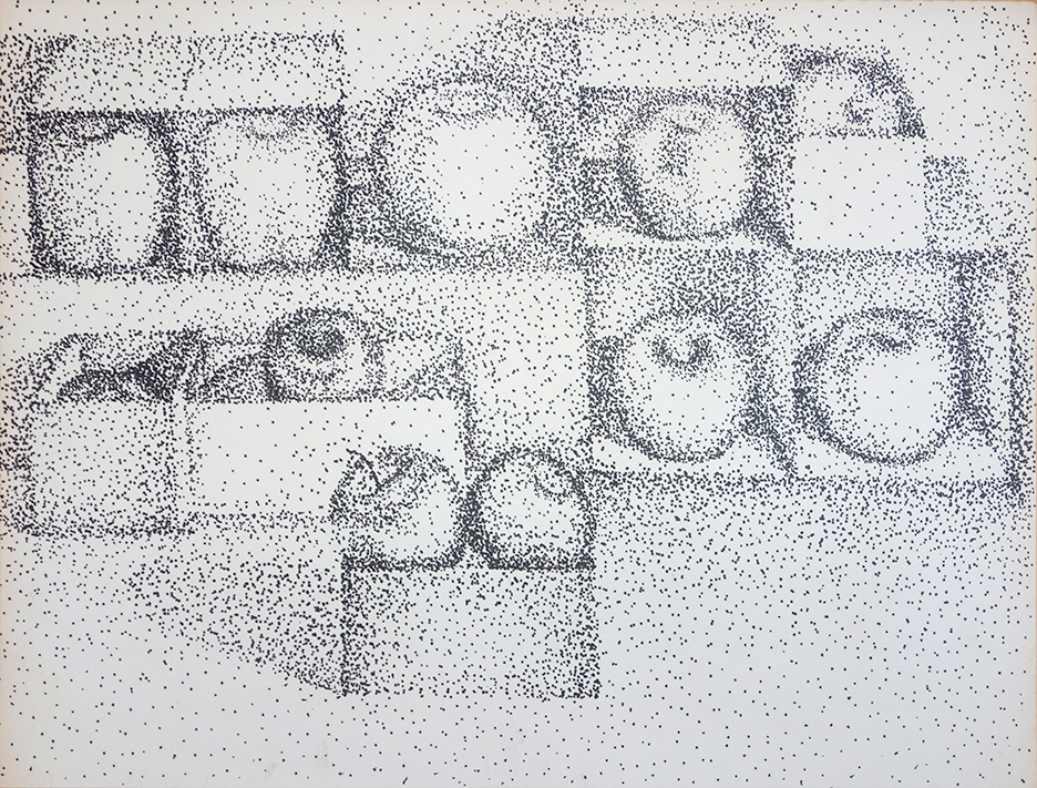 Apple in Boxes Pointilist drawing by Mary Ahern the Artist