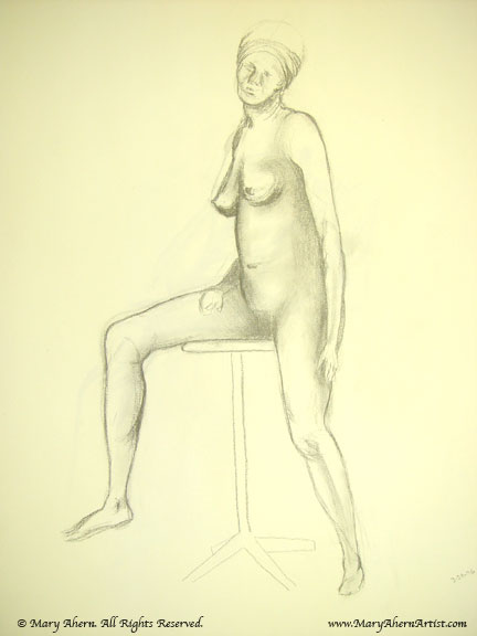Pencil drawing on newsprint paper from life drawing class