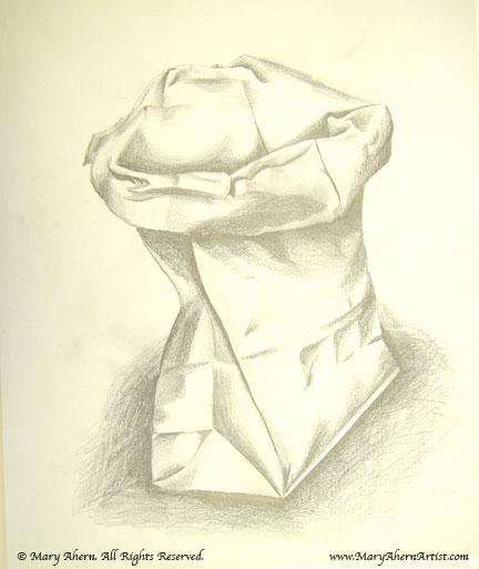 Folded brown garbage bag drawing