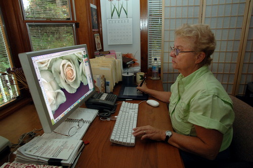 Newsday photo of Mary Ahern at Computer