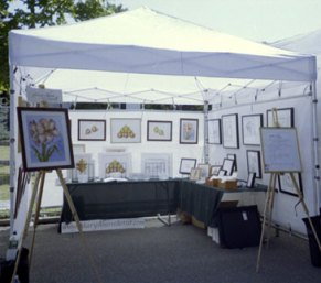 2004-08 Westhampton Beach Art Festival. New booth mesh panels.