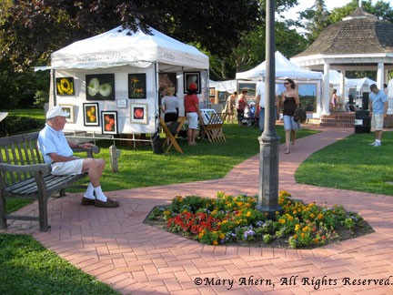 Mary Ahern artist booth at Westhampton Beach art show.
