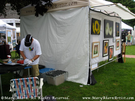 Behind the scenes is my husband Dave prepping additional Designer Prints for sale