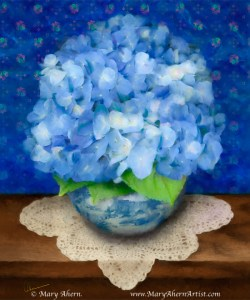 Blue Hydrangeas in Delft Blue Pot