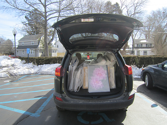 My RAV4 holding and entire Art Exhibition of 32 Paintings.