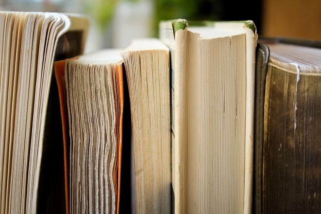 short fiction versus long: books lined up, cut pages facing out