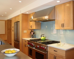 suburban house transformation back-painted glass back splash Mary Cerrone Architecture & Interiors Pittsburgh