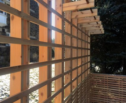 Custom Cedar Deck, Plant Basket Wall Detail. Mary Cerrone Architects. Pittsburgh, PA.