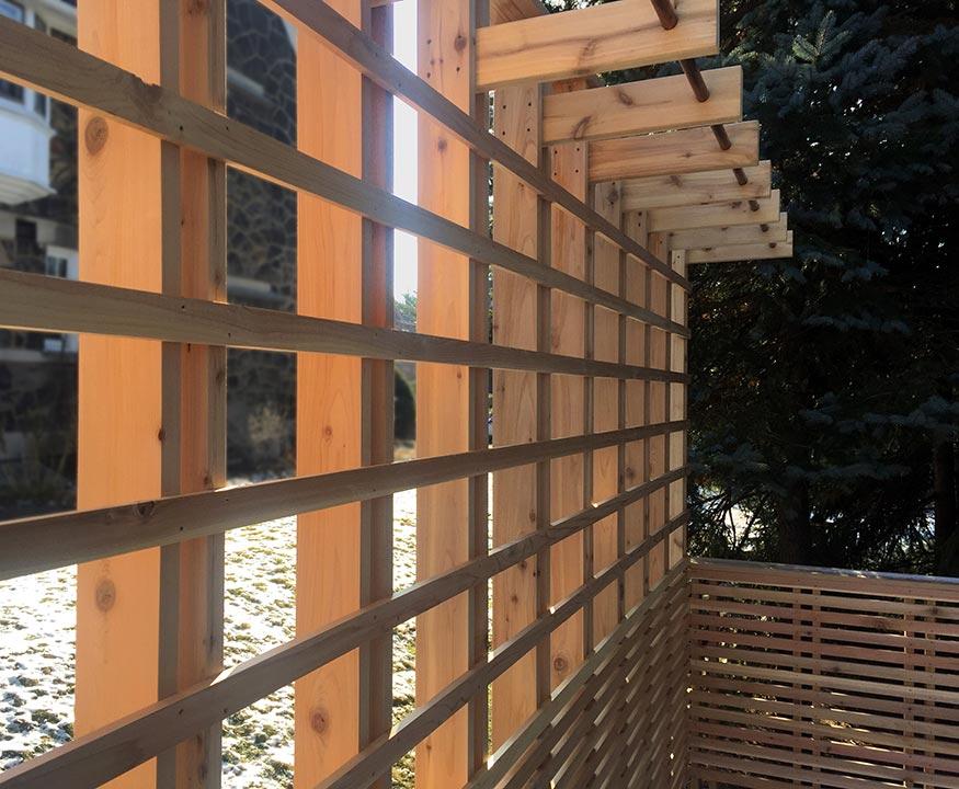 Custom Cedar Deck, Plant Basket Wall Detail. Mary Cerrone Architects. Pittsburgh, PA.