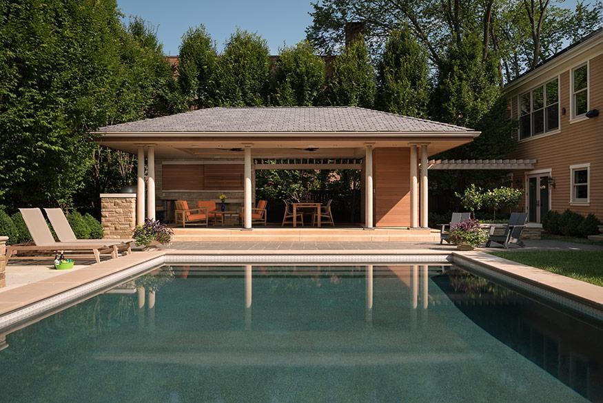 Pool Pavilion, Closeup. aMary Cerrone Architect, Shadyside, PA